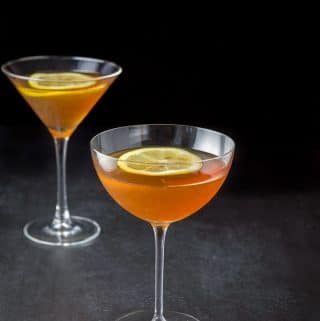 The naked lady cocktail poured into two martini glasses