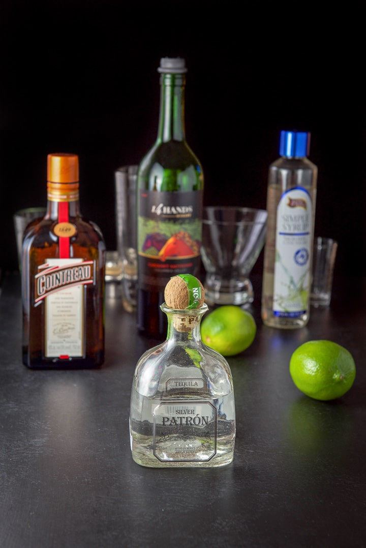 Tequila, Cointreau, simple syrup, limes and wine for the sangria margarita