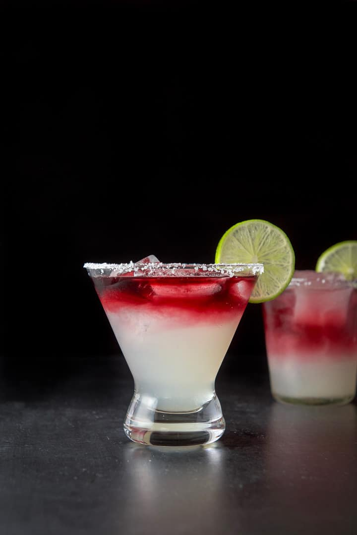 Vertical view of the sangria margarita in the flared glass