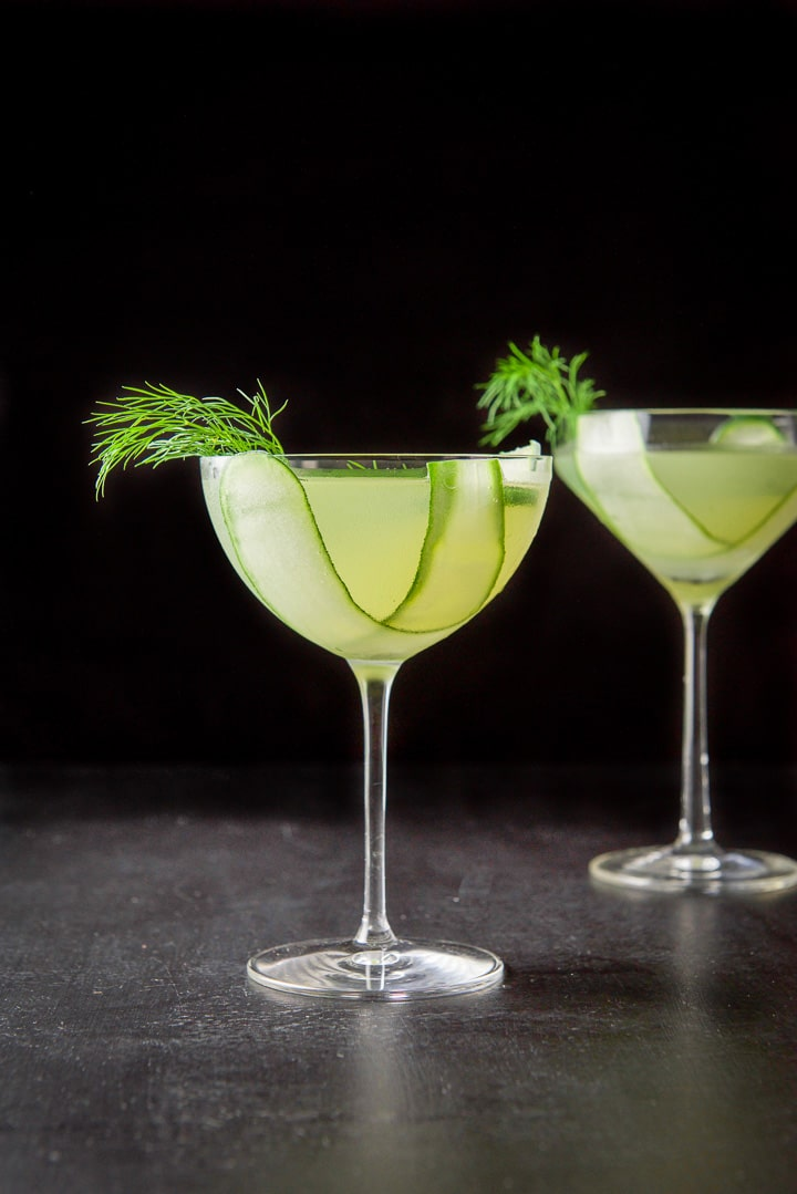Vertical view of the cucumber dill martini