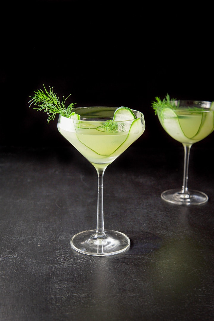 Curved glass with the cucumber dill martini