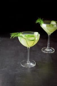Bowl glass with the cucumber dill martini