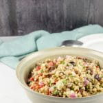 Farro salad all mixed and in a bowl