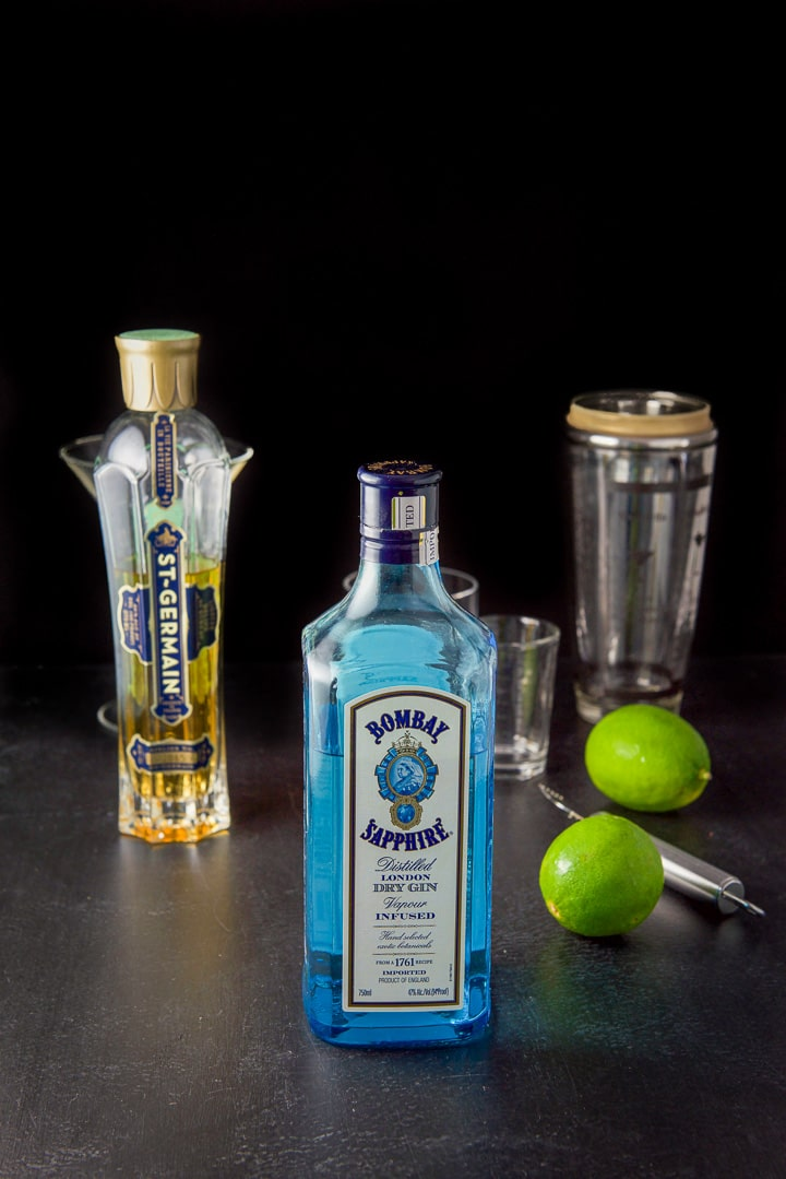 Gin, st. germain liquor and limes for the French gimlet