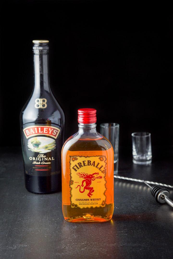 Fireball whiskey and Baileys Irish cream for the Captain Crunch Shot