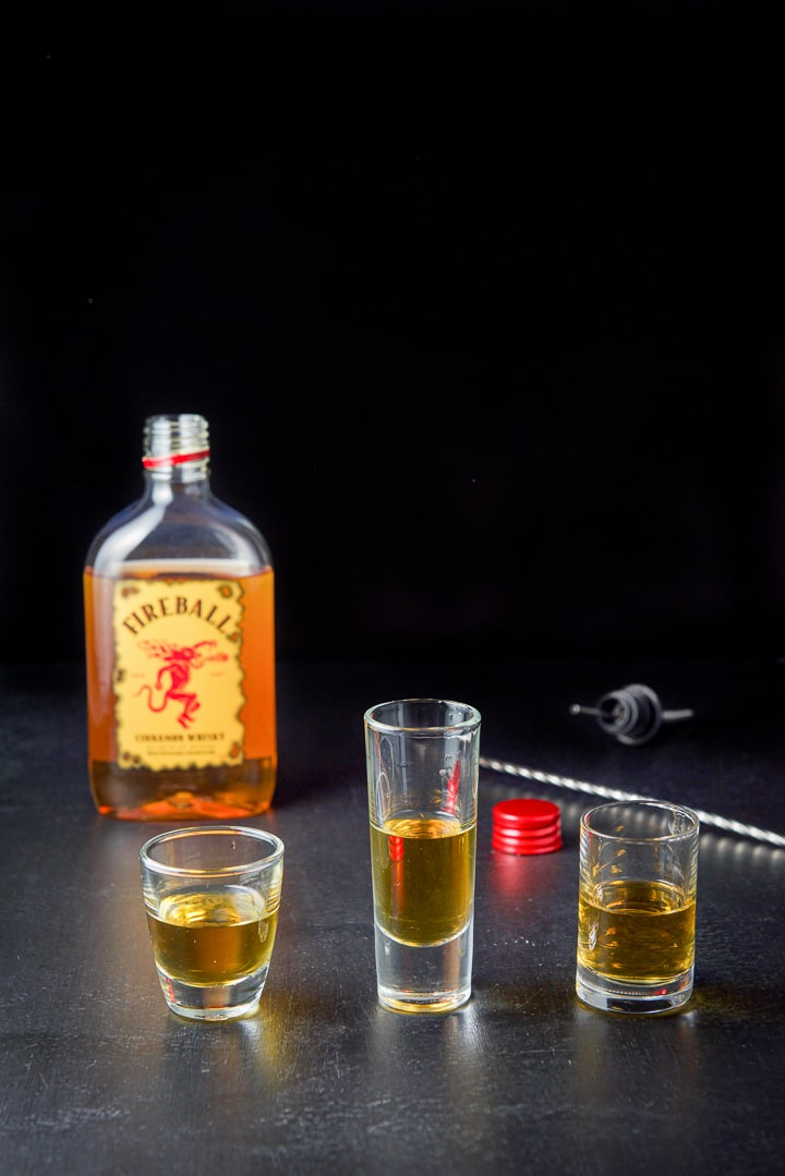 Fireball whiskey poured out for the Captain Crunch shot