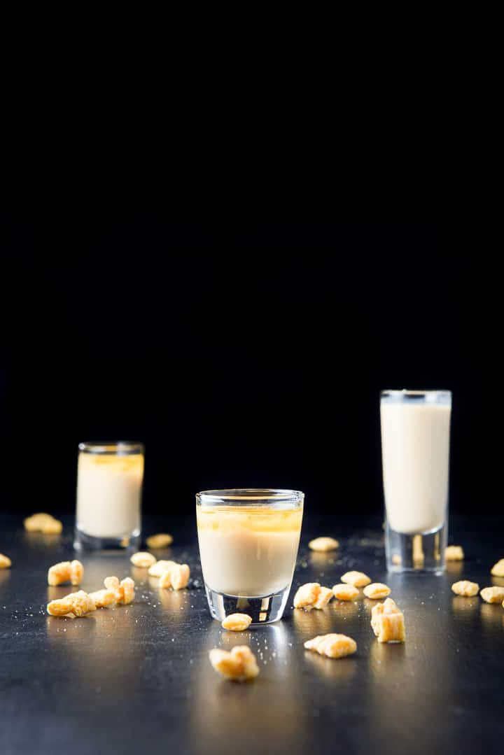 Vertical view of the short glass filled with the Captain Crunch shot