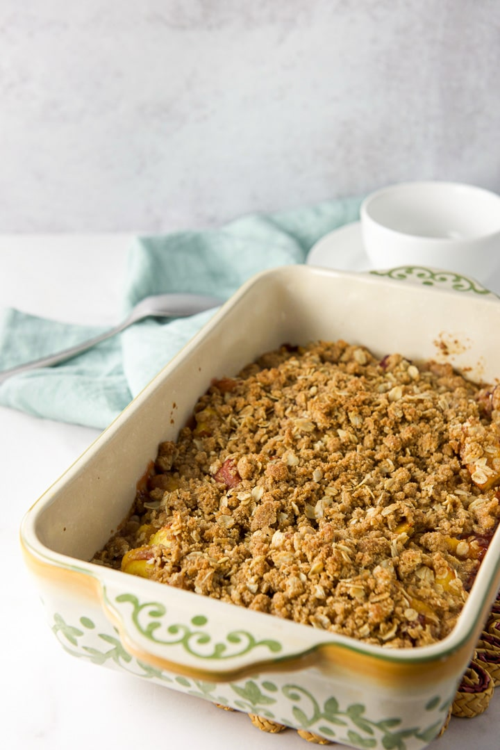 Peach crisp recipe straight out of the oven