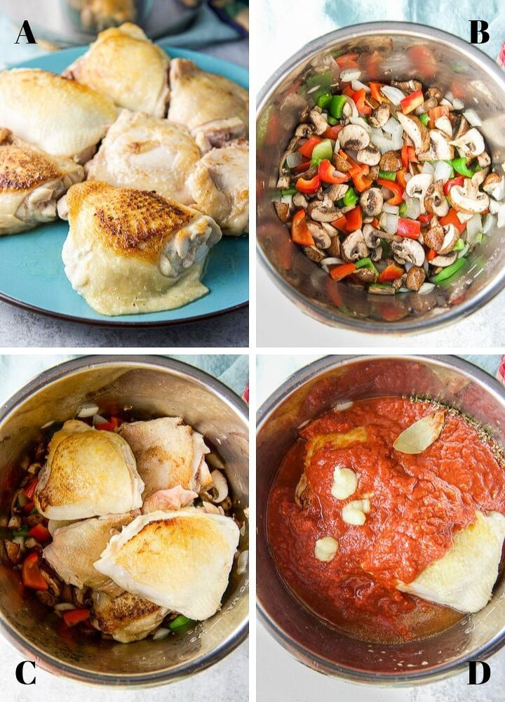 Collage of process shots for the instant pot chicken cacciatore