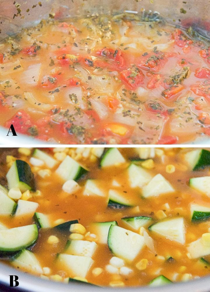 Collage of the summer soup in the instant pot
