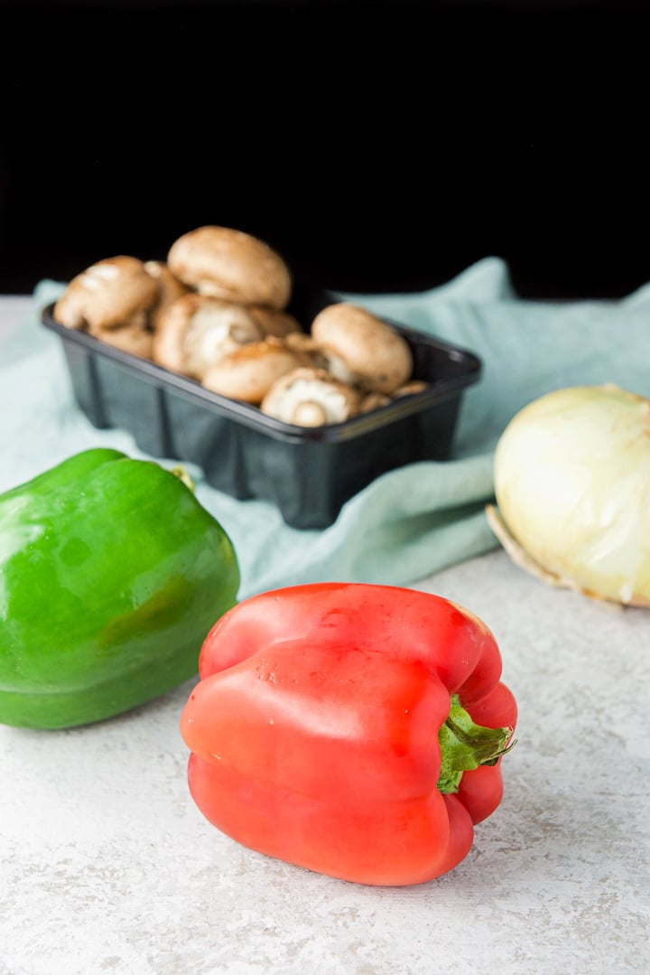 Peppers, onions and mushrooms for the instant pot chicken cacciatore