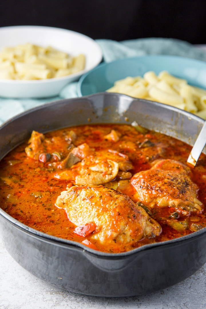 pan filled with instant pot chicken cacciatore