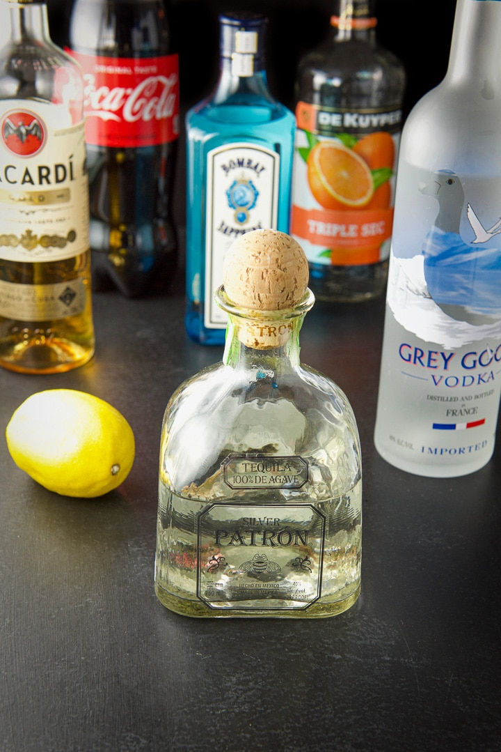 Ingredients for the Long Island iced tea cocktail