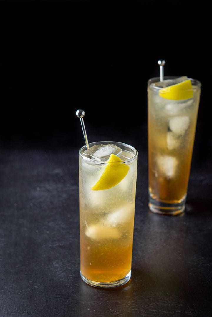 Higher view of the Collins glass filled with Long Island iced tea cocktail
