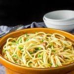 Pasta carbonara in a serving bowl