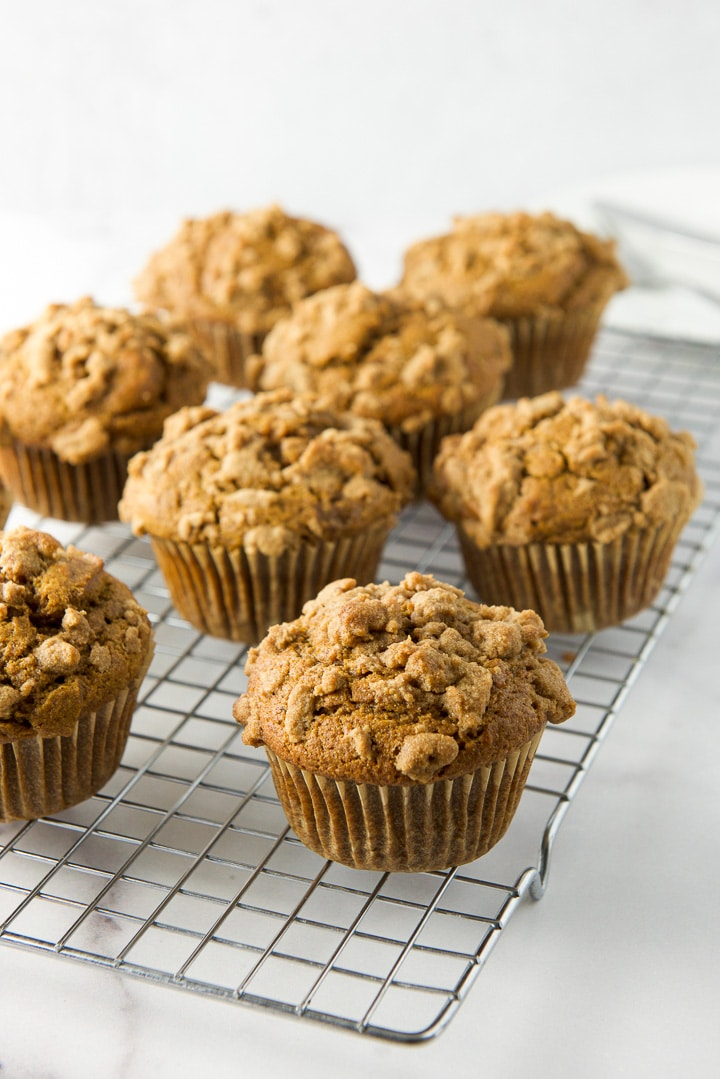 Easy pumpkin muffins with crumbles cooling on the wire rack