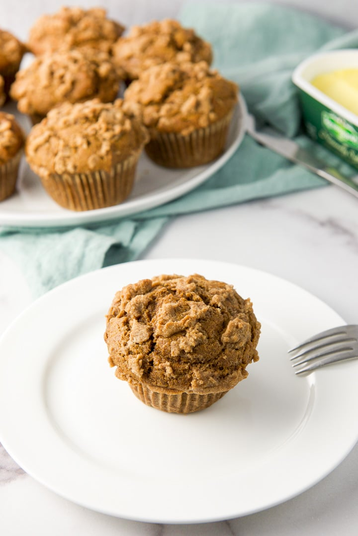 Close view of the easy pumpkin muffins