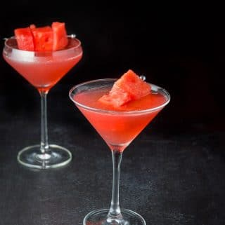 The watermelon cosmo garnished and ready to be imbibed