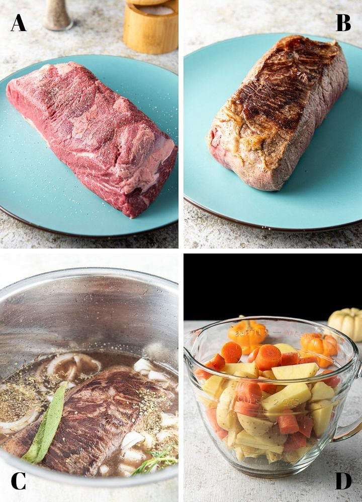 Collage of Process shots for the Instant Pot Pot Roast