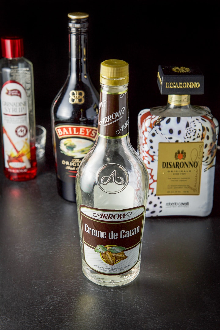 Creme de cacao, amaretto, Baileys Irish cream, grenadine for the jelly fish shot