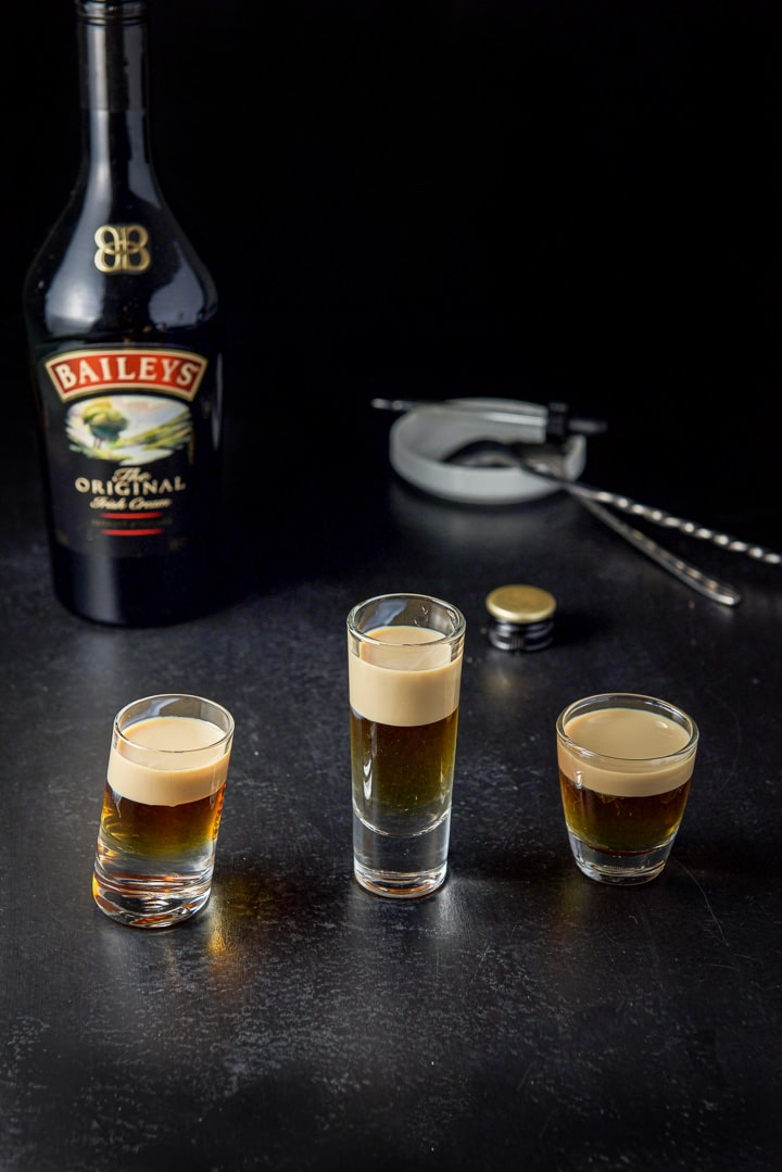 Baileys layered on top of the jelly fish shot