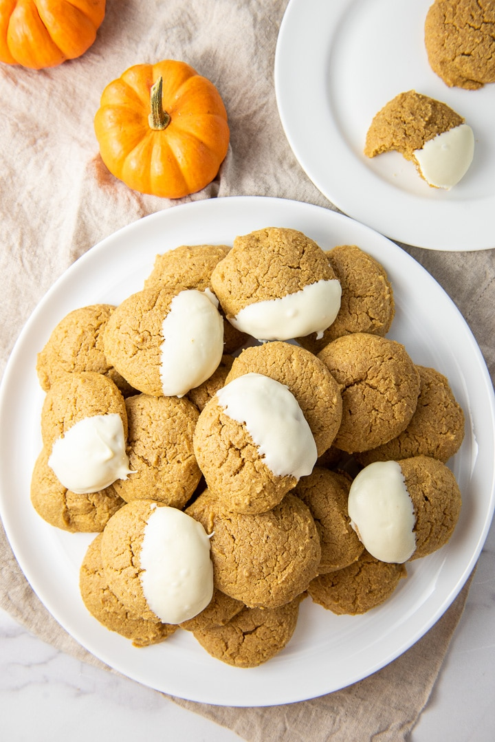 Overhead view of the big plate of pumpkin cream cheese cookies