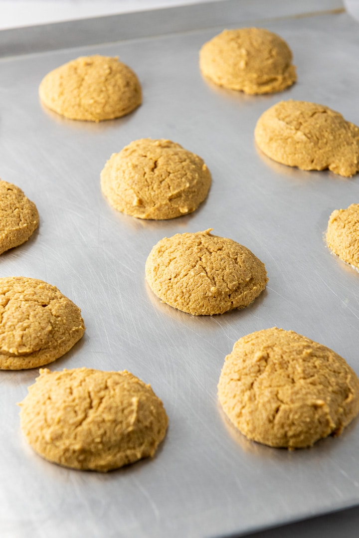 Pumpkin cream cheese cookies fresh out of the oven