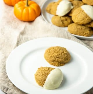 Close up of a plate of pumpkin cream cheese cookies