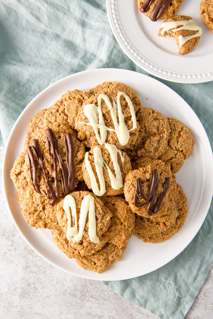 Overhead view of the pile of butterscotch cookies