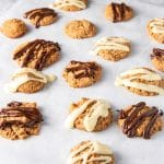 Butterscotch cookies with chocolate drizzle on them