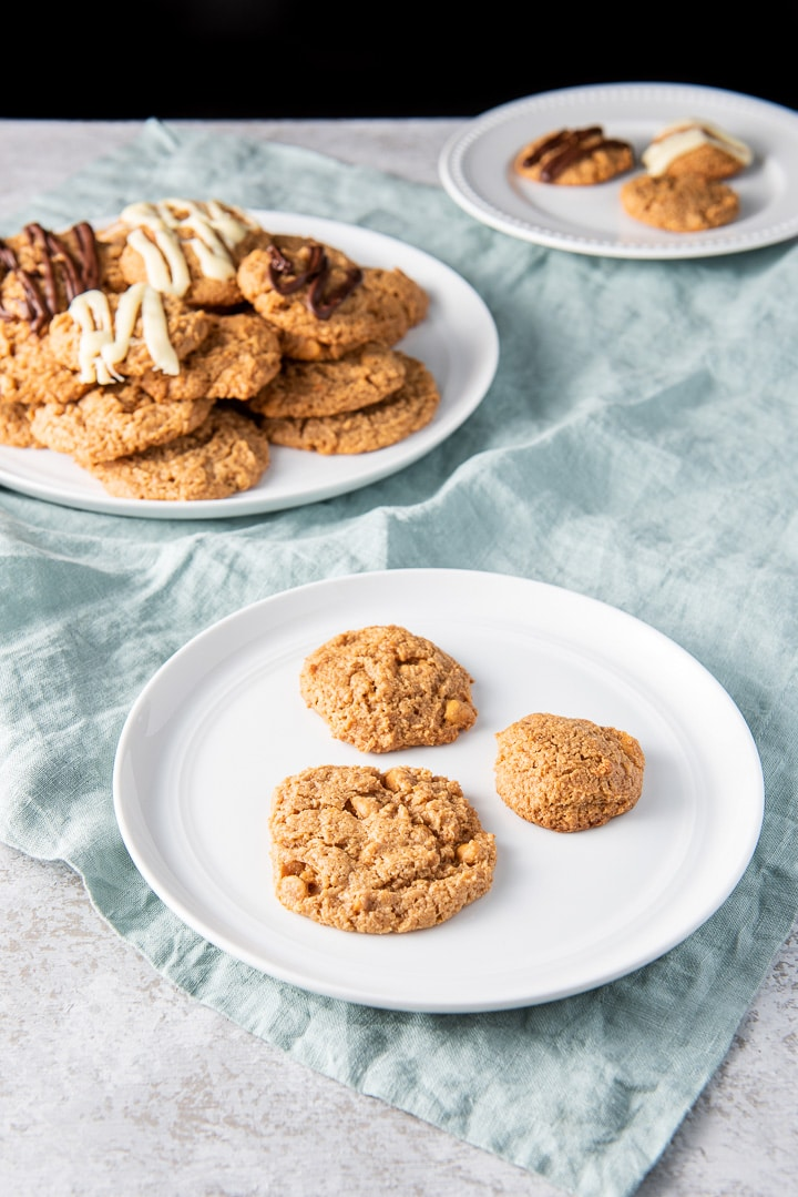 Three butterscotch cookies on a plate