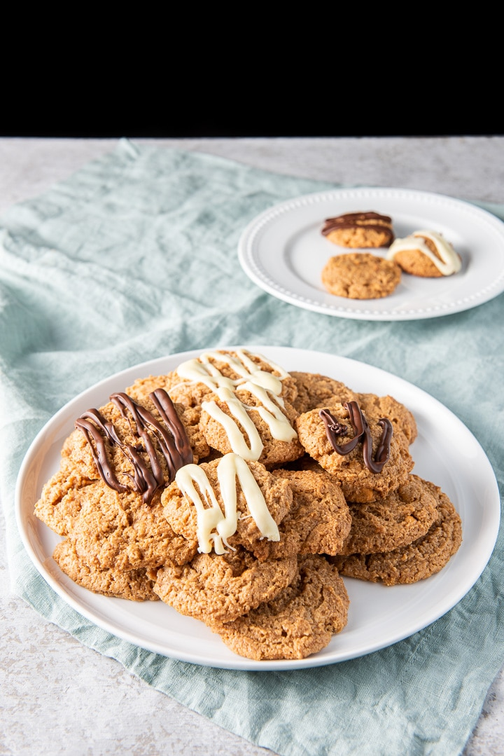 A pile of butterscotch cookies on a plate