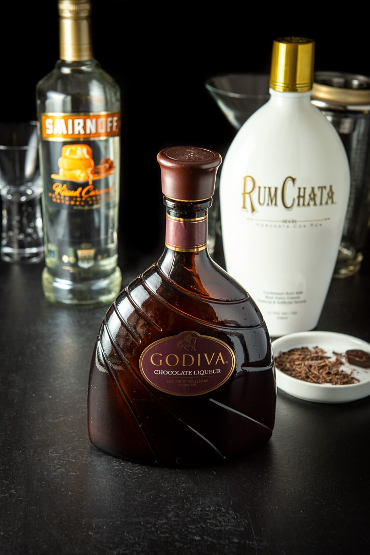 Chocolate Liqueur, RumChata, Caramel vodka for the Godiva chocolate martini