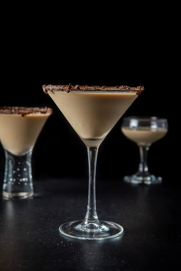Vertical view of the classic glass with the Godiva chocolate martini