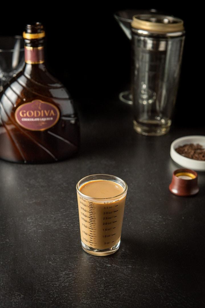 Godiva Chocolate liqueur measured for the Godiva chocolate martini