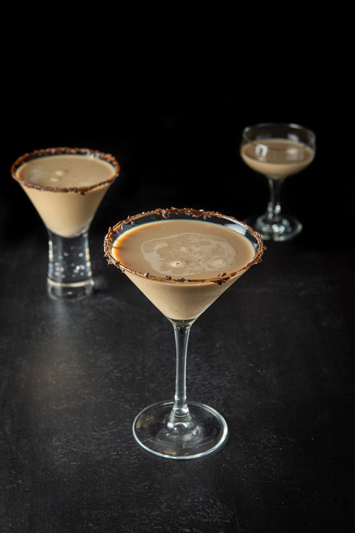 Higher view of the classic martini glass filled with the Godiva chocolate martini