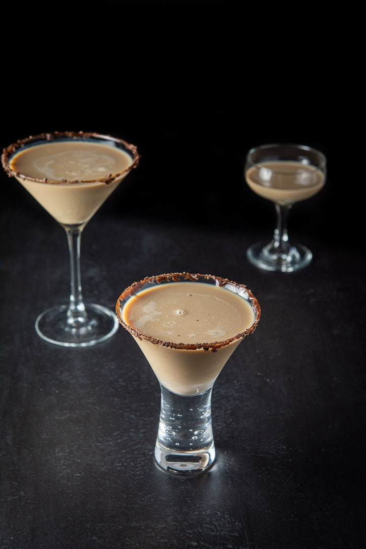 The short glass with the Godiva chocolate martini in it