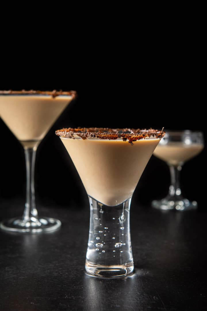 Vertical view of the short glass with the Godiva chocolate martini