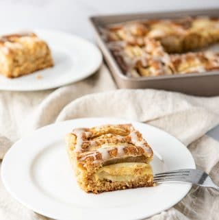 A slice of New England apple cider cake