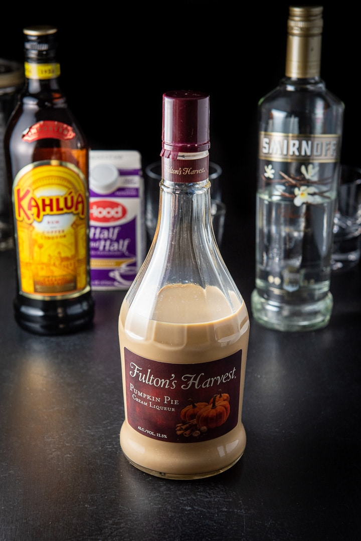 Pumpkin spice liquor, Kahlua, vanilla vodka and cream for the pumpkin spice white Russian