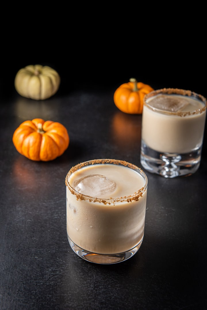 Pumpkin spice white Russian in the wider glass
