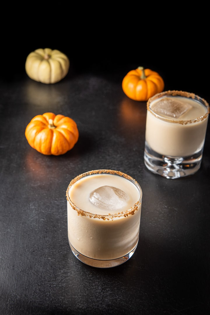 Higher view of the Pumpkin spice white Russian in the wider glass