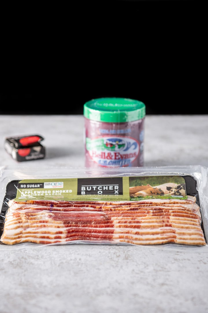 Bacon, livers and toothpicks for the bacon wrapped chicken livers