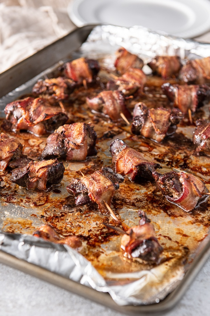 Bacon wrapped chicken livers straight out of the oven