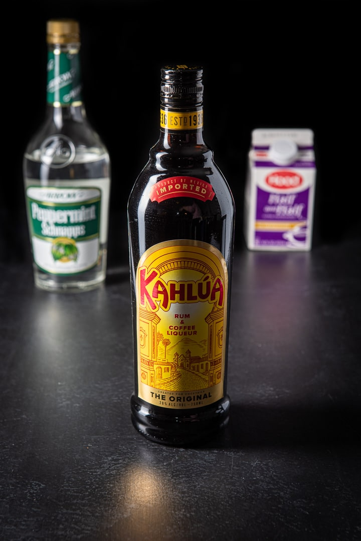 Kahlúa, peppermint schnapps and half & half for the girl scout cookie shot