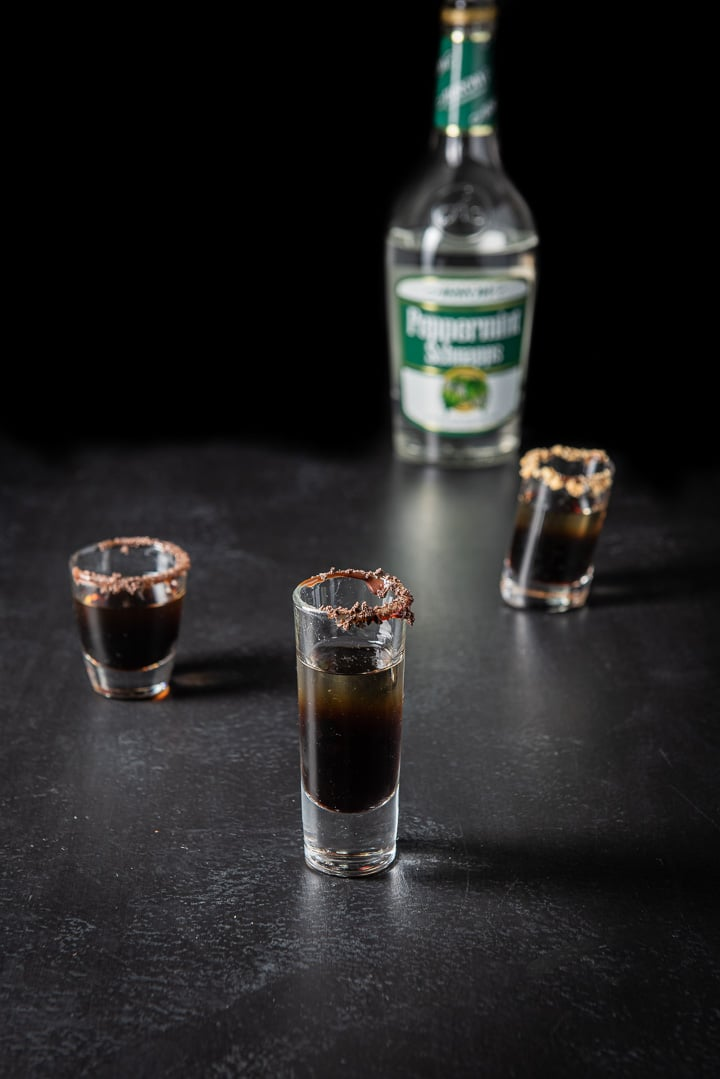 Peppermint schnapps layered for the girl scout cookie shot
