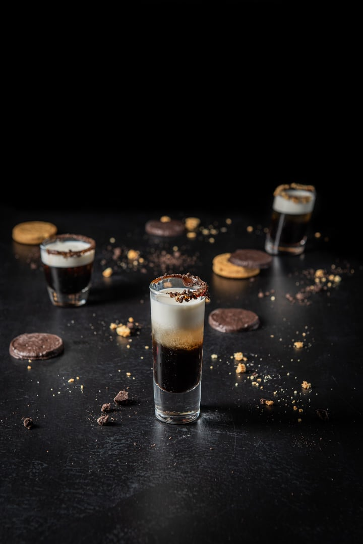 Half & half layered for the girl scout cookie shot