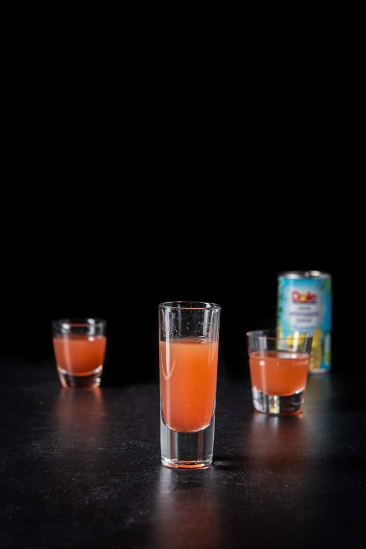 Pineapple juice poured in for the jelly bean shot