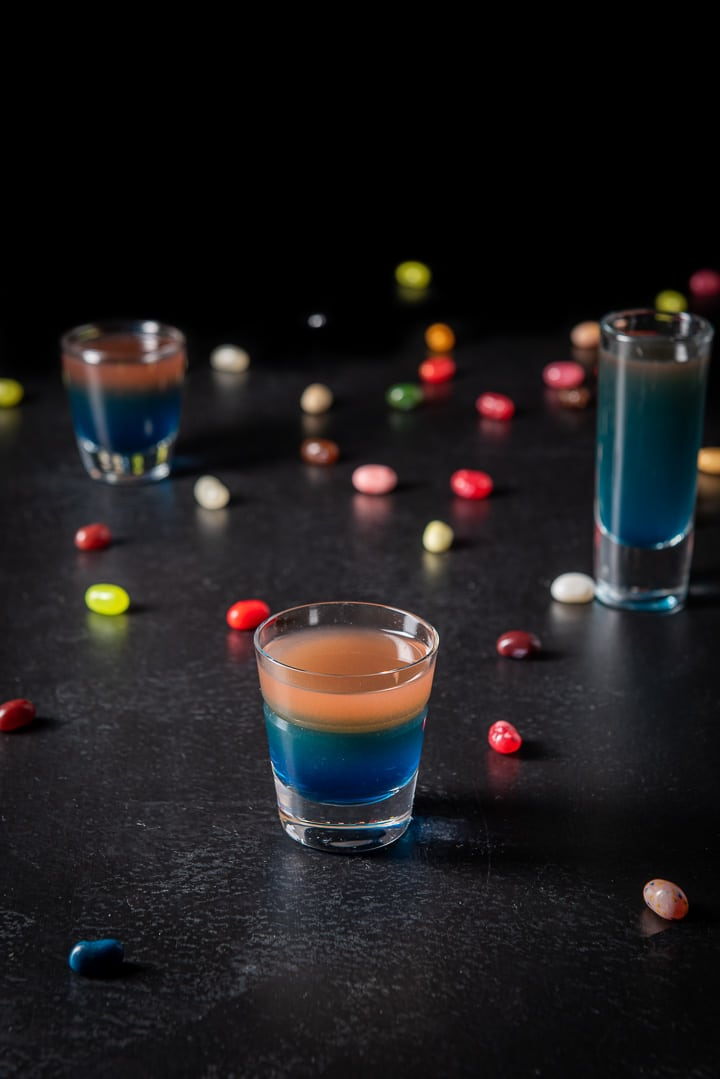 Higher view of the jelly bean shot