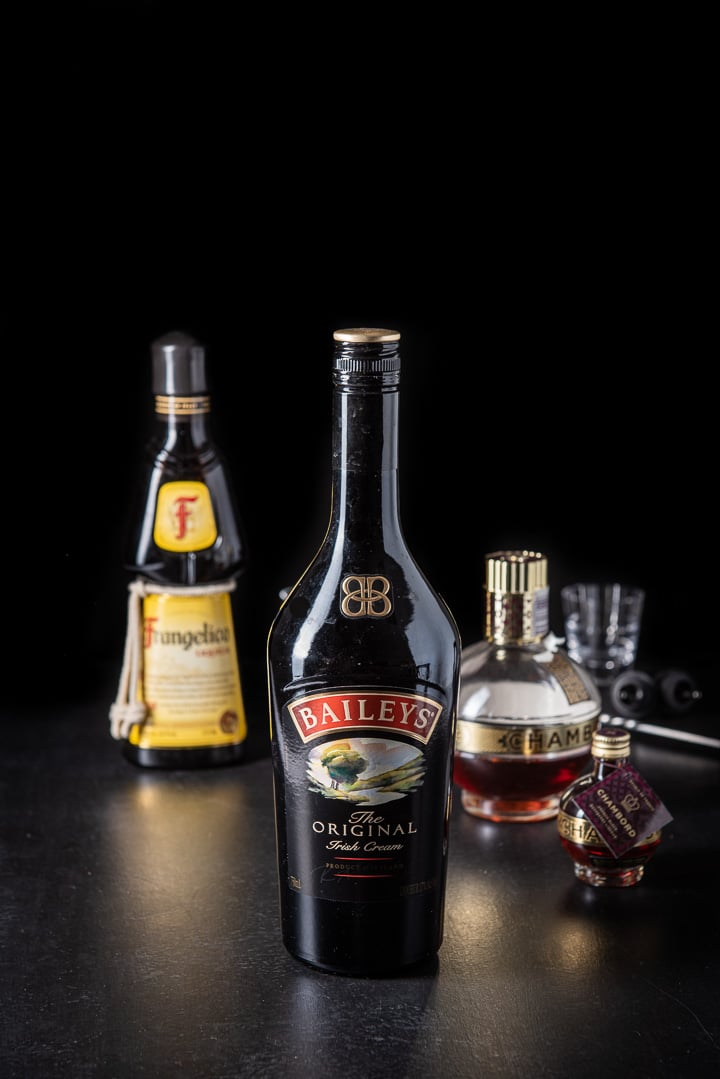 Baileys Irish cream, Frangelico and Chambord for the peanut butter and jelly shot